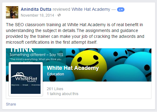 The SEO classroom training at White Hat Academy is of real benefit in understanding the subject in details.The assignments and guidance provided by the trainer can make your job of cracking the adwords and microsoft certifications in the first attempt itself.