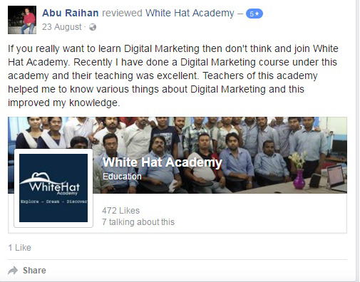If you really want to learn Digital Marketing then don't think and join White Hat Academy. Recently I have done a Digital Marketing course under this academy and their teaching was excellent. Teachers of this academy helped me to know various things about Digital Marketing and this improved my knowledge.