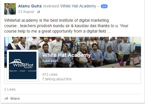 Whitehat academy is the best institute of digital marketing course...teachers prodosh kundu sir & kaustav das thanks to u. Your course help to me a great opportunity from a digital field ...
