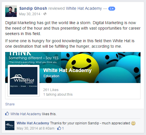 Digital Marketing has got the world like a storm. Digital Marketing is now the need of the hour and thus presenting with vast opportunities for career seekers in this field. If some one is hungry for good knowledge in this field then White Hat is one destination that will be fulfilling the hunger, according to me.