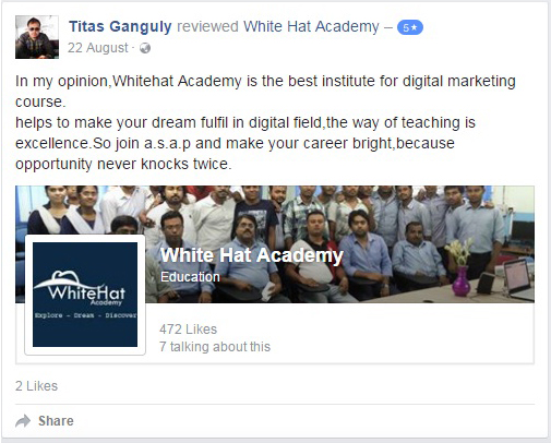 In my opinion,Whitehat Academy is the best institute for digital marketing course. Helps to make your dream fulfil in digital field,the way of teaching is excellence.So join a.s.a.p and make your career bright,because opportunity never knocks twice.